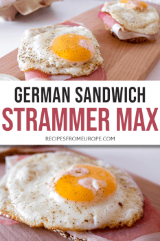 Sanwich with eggs and cured ham Strammer Max