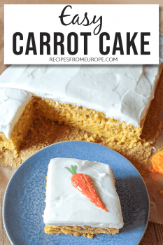 Photo of slice of carrot cake with white icing and carrot drawn on top with text overlay