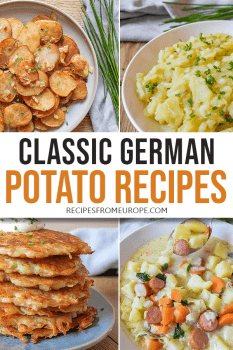 Photos of German potato dishes with text overlay