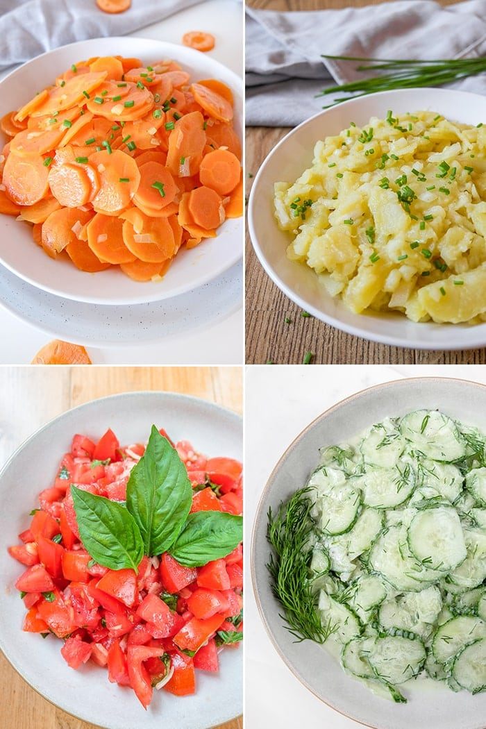 Photo Collage of carrot salad, potato salad, tomato salad and cucumber salad in bowl