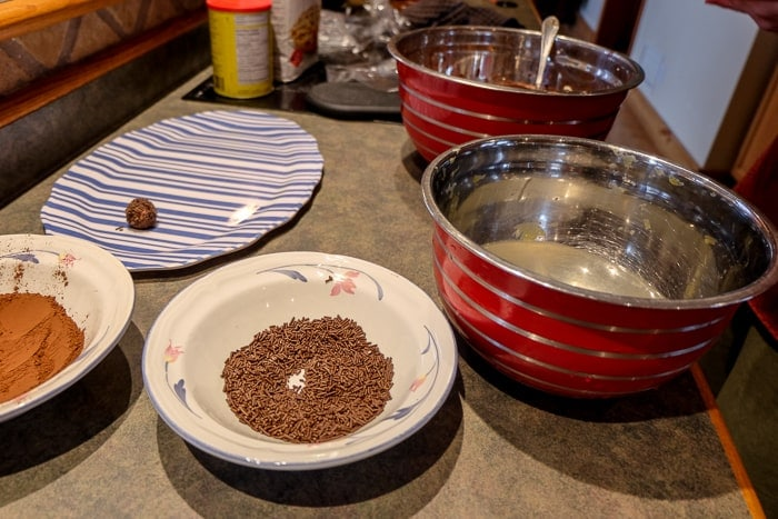 mixing bowls on counter used to make german rum balls