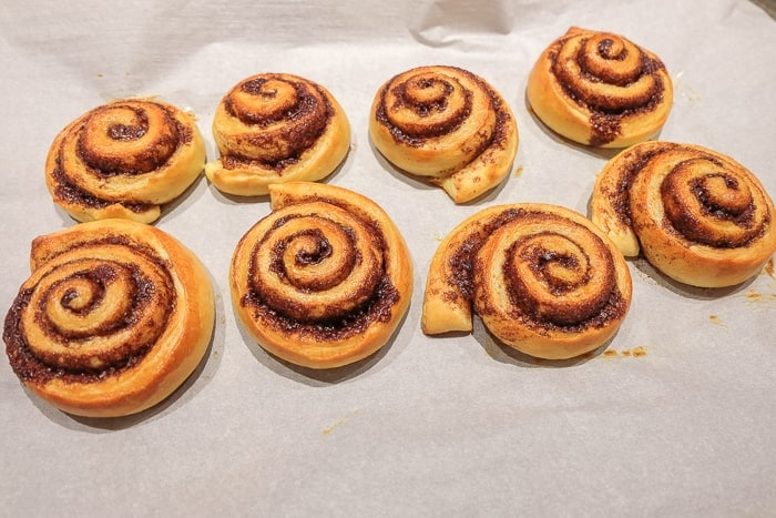cooked homemade cinnamon rolls without icing