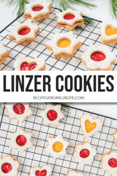 Two photos of linzer cookies with red and yellow jam on cooling rack with text overlay for Pinterest