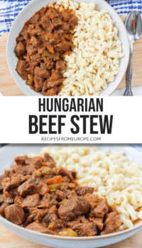 "Photo collage of beef stew in bowl with egg noodles and text overlay saying ""Hungarian beef stew"""